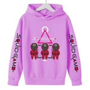 Anime Squid Game Print Fall Boys Girls Unisex Cotton Hoodie Sweatshirts 4-14