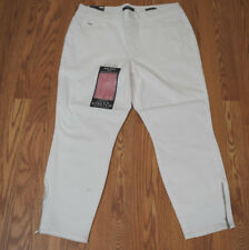 NWT Womens NINE WEST JEANS Pull On Skinny Crop White Zip Hem Heidi Pants 10