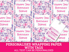 Personalised Happy 3rd Birthday Wrapping paper - Pink Gift Wrap with a number 3