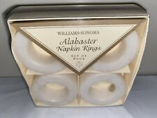Set Of 4 Hand-Carved Williams Sonoma Alabaster Napkin Rings New