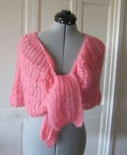 VINTAGE PINK CROCHETED BED JACKET or SHOULDERETTE, WOOL BLEND, ITALY,WPL 12616
