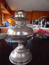 VINTAGE1905 Nickel Plated Rayco Kerosene Lamp PART ELECTRIFIED PERFECT CHRISTMAS