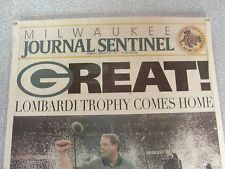 L#466  front page, Milwaukee Journal Sentinel, Green Bay Packers win in XXXI