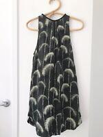 GODDESS OF BABYLON Size XS Black 100% Silk Sleeveless High Neck Casual Dress