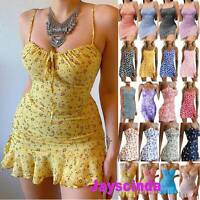 Womens Floral Strappy Mini Dress Bodycon Sexy Party Club Beach Holiday Sundress