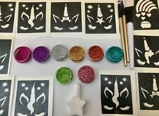 GLITTER TATTOO KIT Unicorn Lashes 54 stencils 8 glitters uK made prof quality