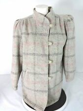 NEW YORK GIRL WOMENS GRAY & PINK PLAID WOOL COAT SIZE 14