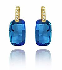 Gold and Blue Crystal Elegant with Rhinestones Evening Stud Shiny Earrings E1210