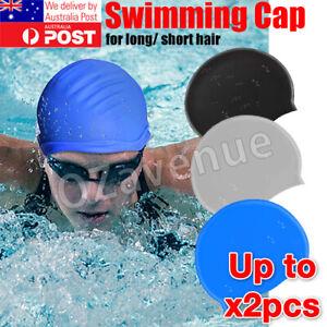 Swimming Cap Waterproof Silicone Swim Pool Hat For Adult Men Long Hair Women AU