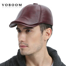 100% Genuine Leather Winter Hat Men Ivy Cap Beret Gatsby Newsboy Cap Burgundy XL