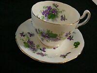 Vintage Mayfair Bone China England Cup & Saucer Purple Violets Flowers