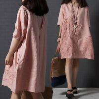 Women's Casual Half-Sleeve Loose A-Line Cotton Linen Embroidered Dress Comfort