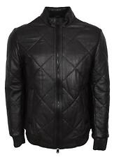 NEW BOSS Hugo Boss Men's $795 Black Quilted Lambskin Leather Biker Jacket 44R