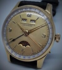 ULYSSE NARDIN TRIPLE DATE MOON PHASE VALJOUX 90 HAND WINDING MANS VINTAGE WATCH