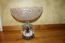 Vintage crystal footed oval bowl copper marble hanging crystals stand