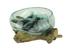 Zeckos Molten Glass On Gamal Wood Root Sculptural Bowl/Plant Terrarium