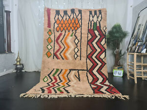 "Vintage Moroccan Boujaad Handmade Rug 5'5""x8'5"" Berber Zig-Zag Beige Red Carpet"