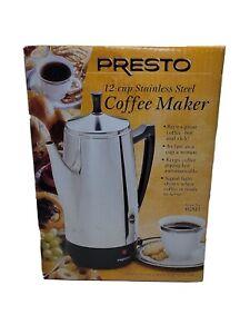 PRESTO 12 CUP STAINLESS STEEL PERCOLATOR COFFEE POT MAKER 02811 Open Box