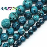 Natural Blue Spot Stone Beads for Jewelry Making Round Loose Beads 15''