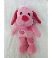 "11"" Pink Puppy Dog Gingham Hearts Soft Plush Stuffed Animal Toy Dan Dee B205"