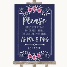 Navy Blue Pink & Silver Share Your Wishes Personalised Wedding Sign