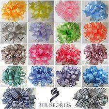 Berisfords 5mm 10mm 15mm High Quality Gingham Ribbon, 18 Colours, 4 Lengths,
