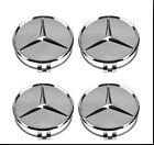 4 X 75mm New OEM Mercedes Wheel Center Hub Cap Raised Star Chrome two tone