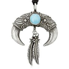 Dan's Jewelers Turquoise Bear Claw Feather Necklace Pendant, Fine Pewter Jewelry
