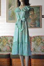 Vintage womens dress 1950's 1960's dress aqua summer dress Size 12 AUS