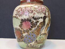 SATSUMA Japan Hand Painted Lidded Vase Urn Flower Pot Porcelain Pottery Antique