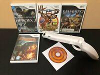 Nintendo Wii Holder Gun & Games Bundle - 5 Games + Gun - Clean & Tested