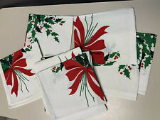 12 Pack Dinner Napkins Xmas Holly Berries Bough Linen/cotton