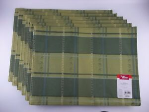 """Set of 6 Better Homes & Gardens Olive Green PLAID Placemats, NEW 14"""" x 19"""" Woven"""