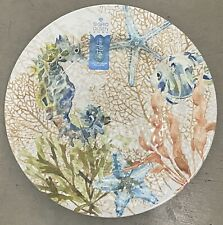 SIGRID OLSEN TURTLE TROPICAL SEA LIFE MELAMINE DINNER PLATES SET OF 4