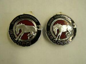 NOS OEM Ford 1991 Bronco Silver Anniversary Emblems Ornaments Trim Pair