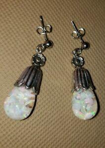 814 Small Teardrop Floating Opal Posts Earrings