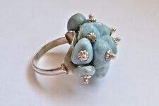 Sterling Silver Blue Larimar Unique Cluster Ring Size 6.5
