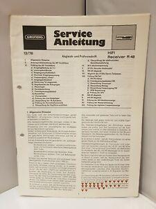 Service-Anleitung Manual GRUNDIG HiFi RECEIVER R48 Schaltplan Circuit diagramm