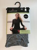 "CUDDL DUDS Modal Long Sleeve Crew w/Stretch Underwear Top ""TONAL STRIPE"" L NWT"