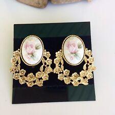 Vtg 1928 Brand Pierced Earrings Pink Rose Cameo Doorknocker Gold Tone Jewelry
