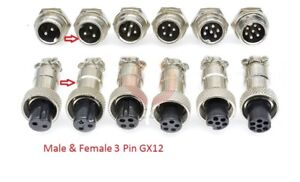 Multi Contact Multi-Pin Connector Socket and Plug Microphone Aviation GX12 3 Pin