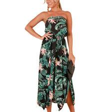 Womens Bandeau Boob Tube Holiday Long Dress Ladies Summer Floral Maxi Dresses