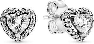PANDORA Genuine Elevated Heart Stud Earrings Sterling Silver S925 ALE 298427C01