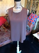 NOTATIONS Ladies Brown Chiffon Silky Sleeveless Blouse Top  Size L UK Size 14