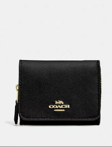 BNT COACH Small Trifold Wallet Black Leather F37968