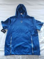Nike NFL Indianapolis Colts Sideline Therma Short Sleeve Hoodie Mens Large
