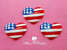 10 pcs US Flag Patriotic Heart  Resin Cabochon Bow Center Cupcake Topper Party