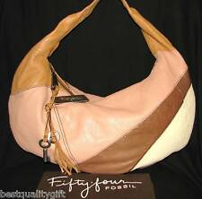 NEW FIFTY FOUR FOSSIL ROSE,BROWN,BEIGE,WHITE MADDIE HOBO,HAND BAG,PURSE+DUST BAG