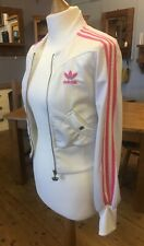 Adidas Respect Me White/pink Women's Cropped Tracksuit Top Size 8