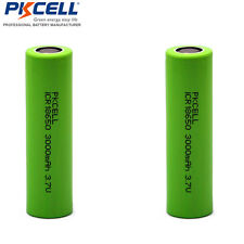 2pcs 18650 Li-ion 3000mAh 3.7V Vape & Torch Rechargeable Battery Flat Top PKCELL